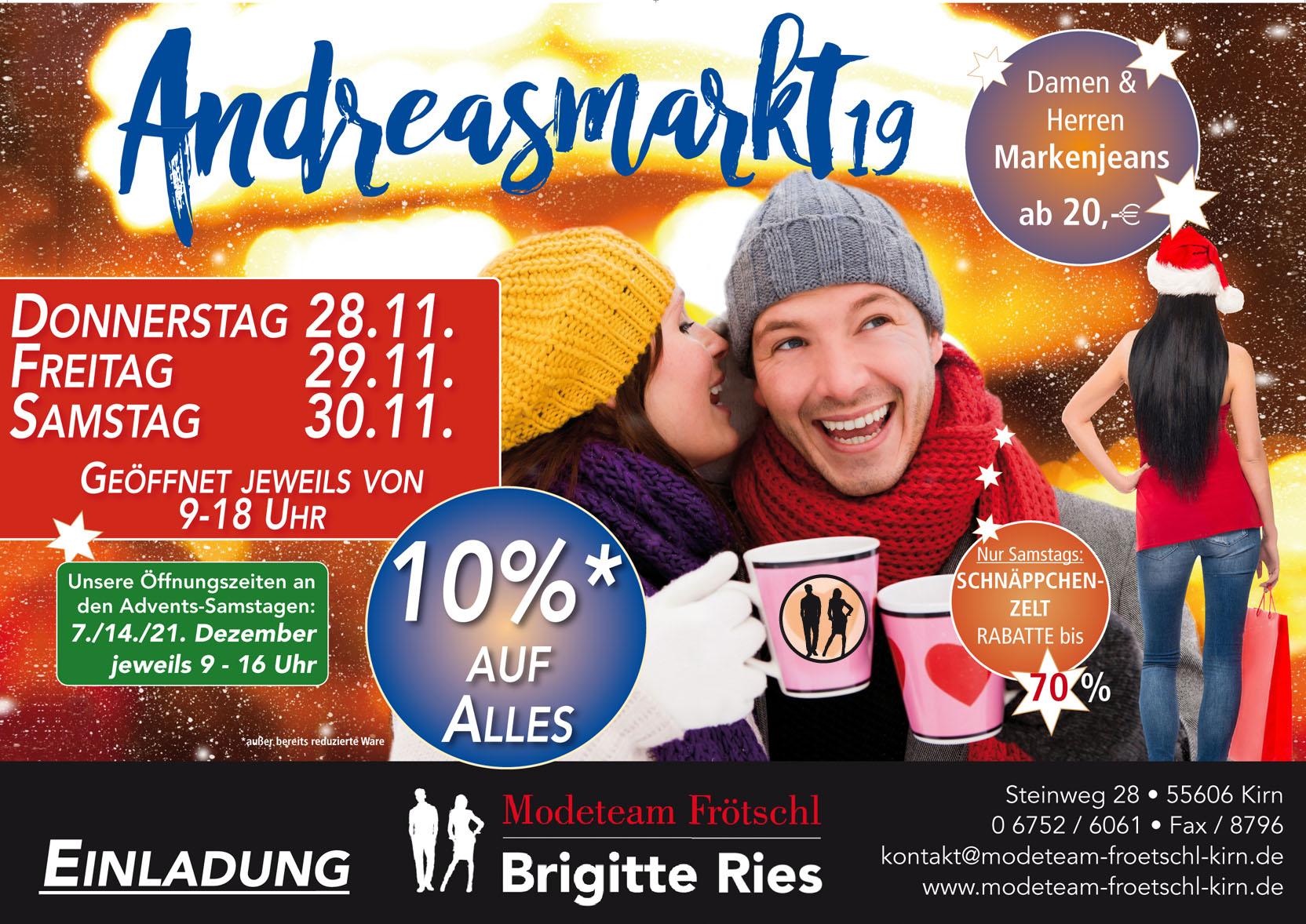 Andreasmarkt – Modeteam Frötschl in Kirn – Jeans und